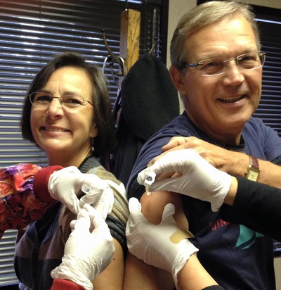 Joanie and Rick Holm get their flu shots
